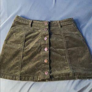 miss green corduroy mini skirt forever21
